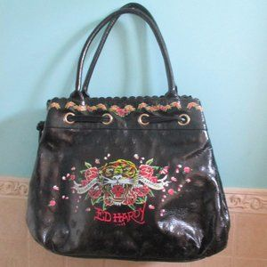 Ed Hardy Black Faux Leather Tote XL NEW